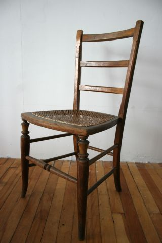 Antique Victorian Bedroom Chair Cane Seat Mahogany Fine Quality photo