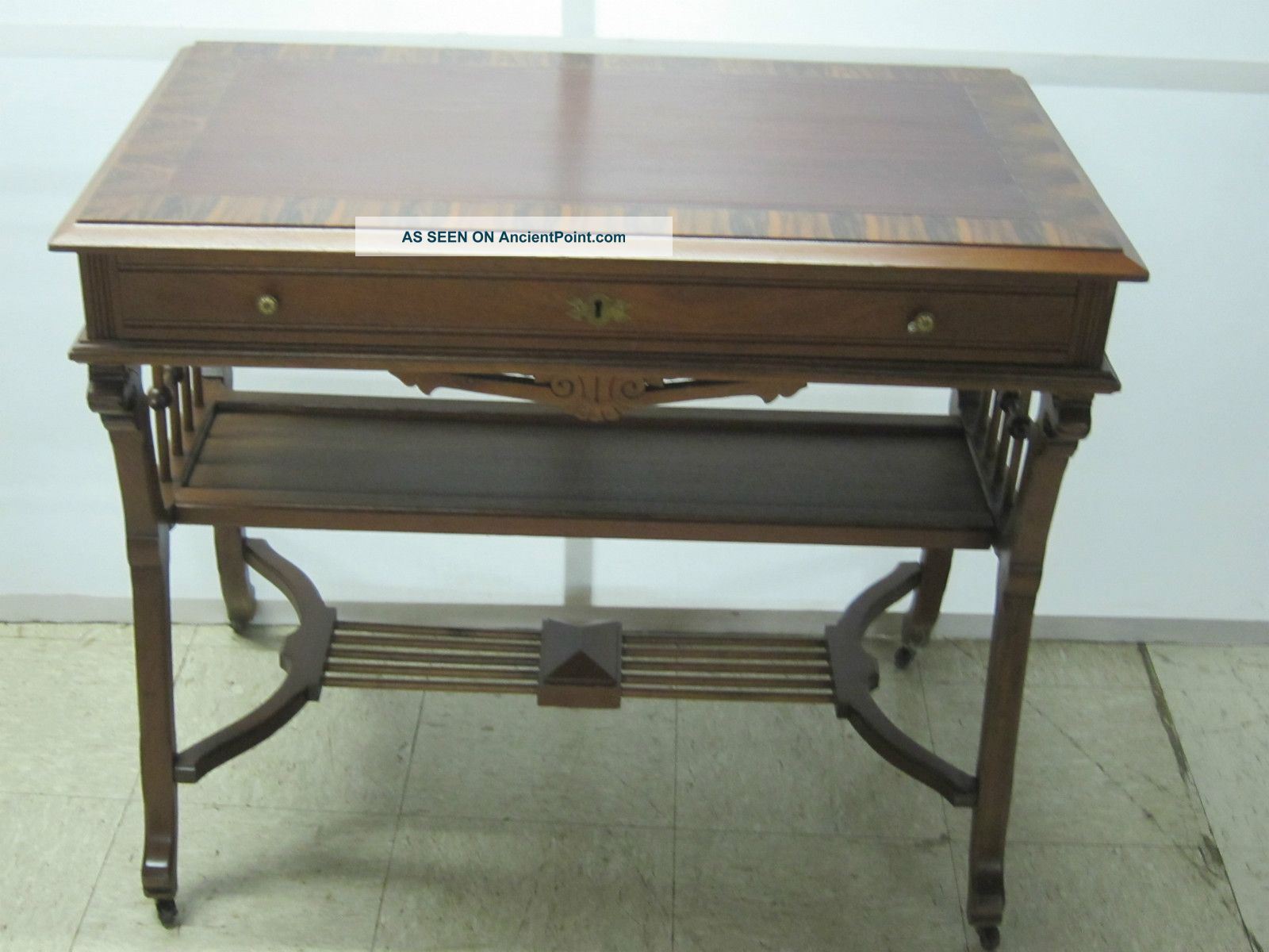 Marvelous photograph of  Walnut & Ribbon Mahogany Writing Desk Ball & Stick 1900 1950 photo with #594934 color and 1600x1200 pixels