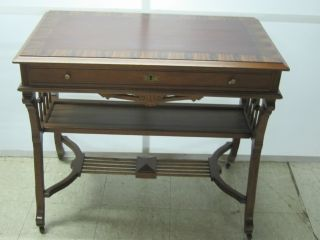 Antique Victorian Circassian Walnut & Ribbon Mahogany Writing Desk Ball & Stick photo
