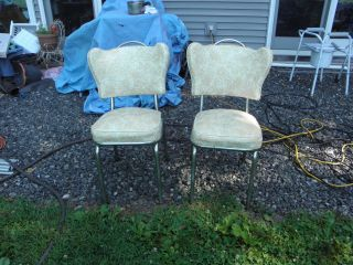 2 Matching Spartan Chrome Kitchen Chairs,  Covered In Vinyl Sweetheart Design photo