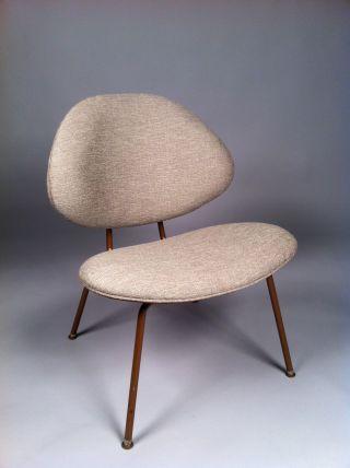 Vintage Reupholstered Mid Century Atomic Era Chair photo