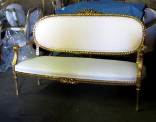 Vintage Gorgeous Gilt Ribbon Crest French Louis Xvi Settee Canapé Sofa photo