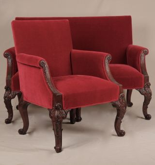 American Rococo Revival Louis Xv Style Sofa Loveseat Settee Canape Arm Chair photo