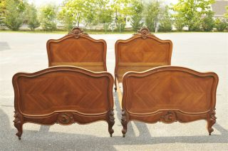 French Louis Xv Beds Matching Pair In Walnut 19th Century photo