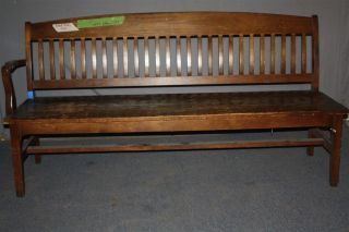 Antique Oak Slatted Back Bank Of England Or Law Office Style Bench, photo