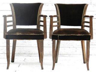Pair Of French Bridge Chairs Art Deco Fauteuils Lime Oak Armchairs photo