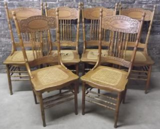 Set Of 6 Antique C1900 Victorian Press Back Oak Dining Chairs Caned Seats Look photo