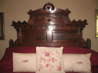 Antique Eastlake Victorian Burled Walnut Bed,  Dresser,  And Washstand With Marble photo