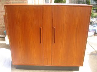 Danish Modern Vintage Teak Gentleman ' S Dresser Cabinet By Westnofa photo
