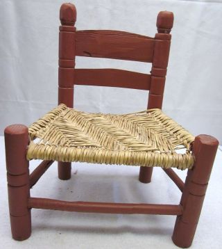 Antique Primitive Country Child Kid Size Vintage Chair Old Rush Seat Solid Wood photo