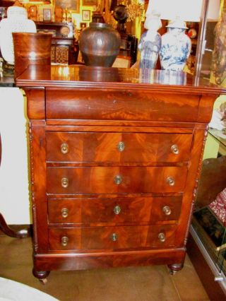 Antique French Mahogany Chest Of Drawers Circa 1825 photo
