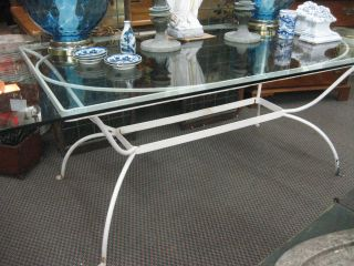 Classic Mid Century Modern Hollywood Regency Wrought Iron Dining Table photo