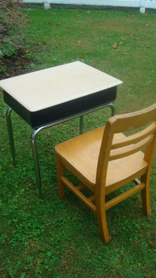 Black /chrome Vintage School Desk W/oak Chair W/under Surface Storage Vguc photo
