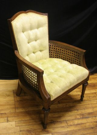 Vintage Lewittes Caning Button Tufted Side Accent Chair In Soft Green photo