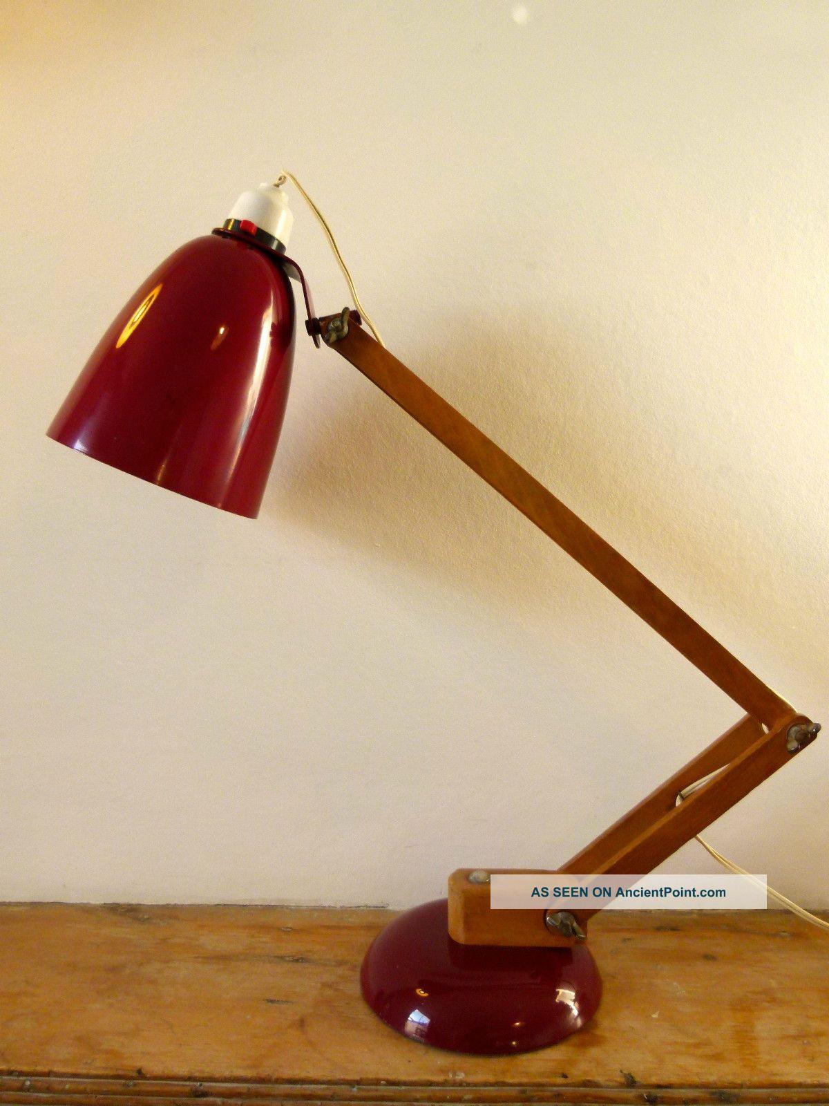 Vintage Retro Habitat Maclamp By Conran Wooden Arm 50s 60s Desk Table Lamp 20th Century photo