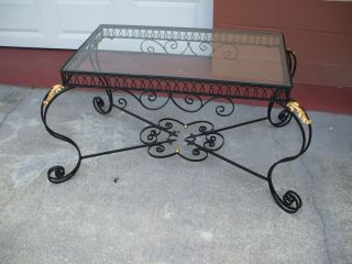 19 Th.  Century Antique French Iron Patio Table Detailed And Ornate photo