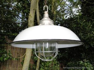 Funky Industrial Style Grey Enamel Ceiling Light Glass Dome Cage Factory Lamp photo