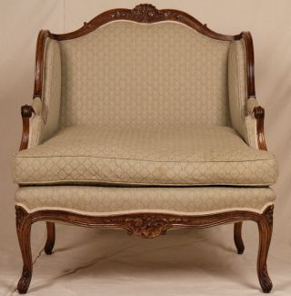 Early Louis Xv French Style Antique Carved Wingback Oversized Bergere Arm Chair photo