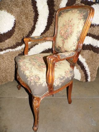 Antique Louis Xv Rococo Style Chair Vintage Hand Woven Armchair Cloth photo