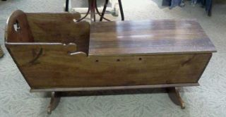 Antique Pine Wooden Cradle photo