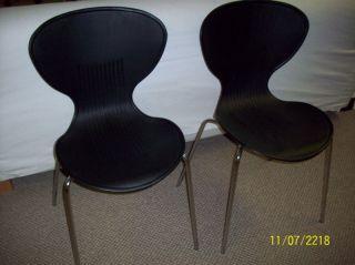 Mid - Century Modern Kidney Black & Chrome Chairs 2 photo