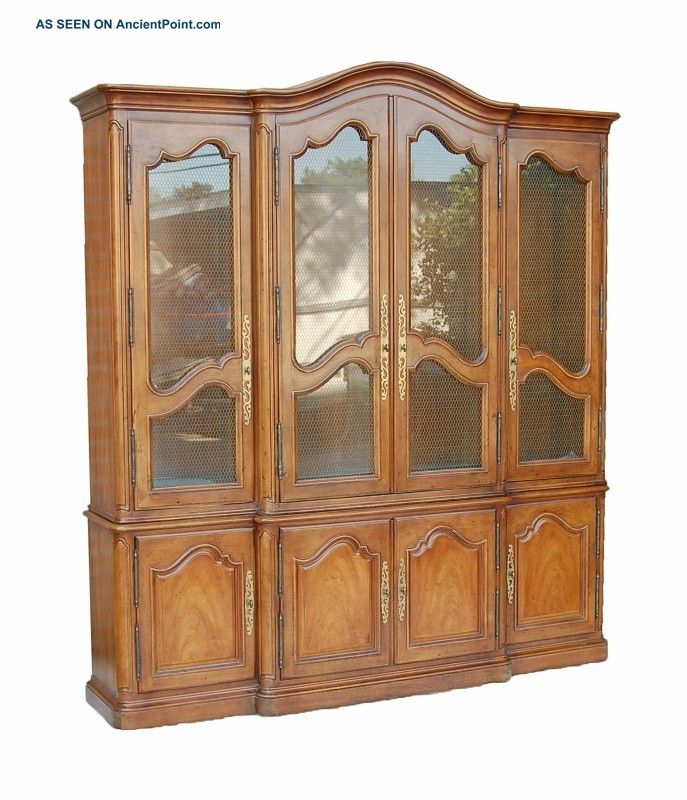 Henredon Antique Country French Style Breakfront Curio China Cabinet Post-1950 photo