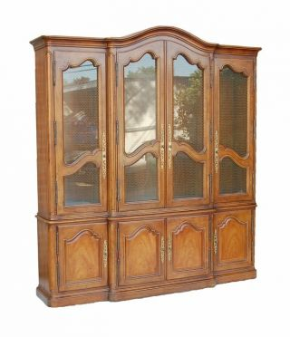 Henredon Antique Country French Style Breakfront Curio China Cabinet photo