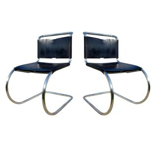 2 Vintage Mies Van Der Rohe Mr10 Tubular Side Chairs photo