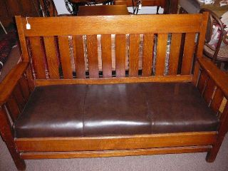 S6 Antique Period Arts & Crafts Mission Oak Bench Settle Stickley Style photo
