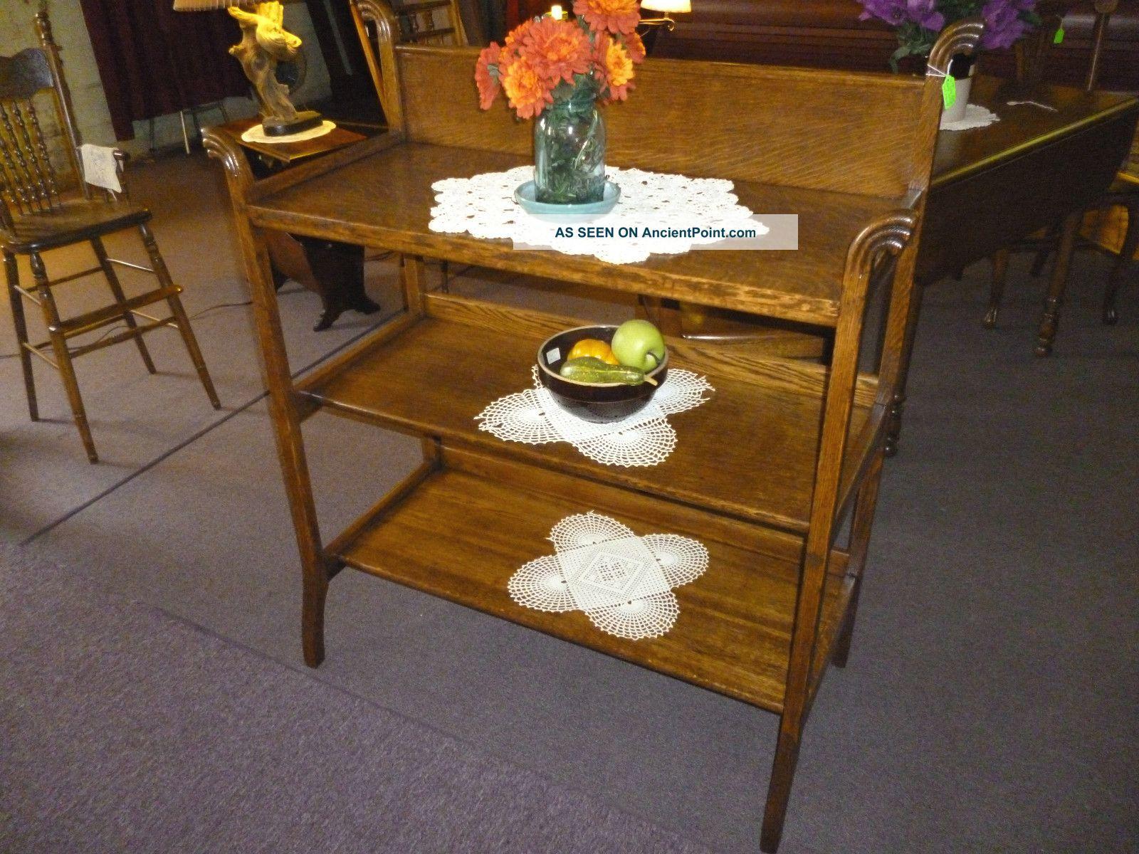 Antique Oak Server Buffet Quartersawn Tiger Solid Oak 3 Shelf Ornate Usa 1900-1950 photo