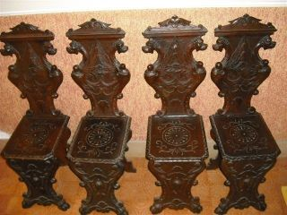 4 Carved Antique Italian 1900s Old Hall Chairs 10it058c photo