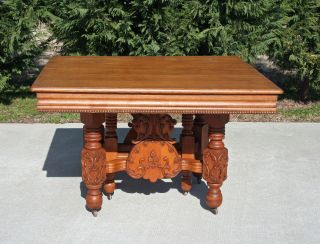 Fine Victorian Solid Oak Dining Table W Leaf Scroll & Bead Carvings Circa 1900 photo
