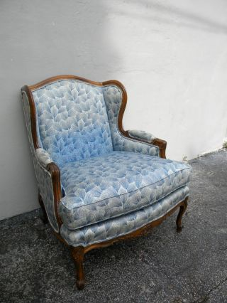 French Country Carved Living Room Wing Chair 2686 photo