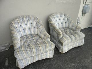 Mid Century Tufted Low Side Chairs photo