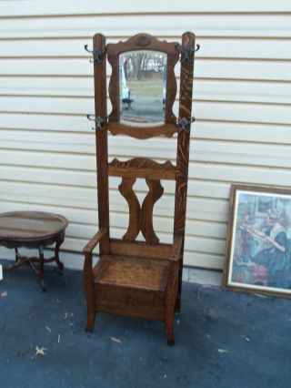 49472 Antique Tiger Oak Hall Seat Hat Rack With Beveled Mirror photo