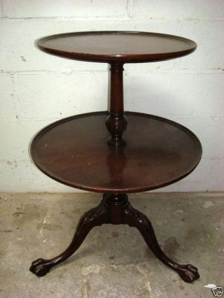 2 Tier Mahogany Claw Feet Table photo