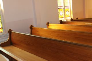 Antique Oak 1901 Church Pews Benches 12 ' Kneeler Included photo