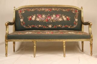 Antique 19th Century French Louis Xvi Style Settee Loveseat Sofa C.  1880 - 1910 photo