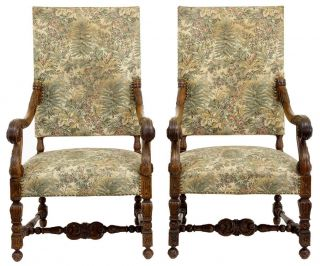Pair Of 19th Century Antique French Walnut Throne Armchairs photo