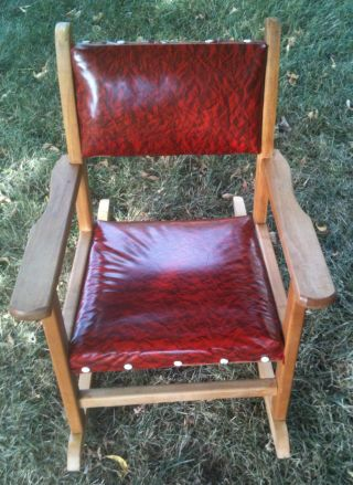 Vintage Child ' S Wood And Vinyl Rocker Rocking Chair From Canada photo