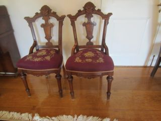 Pair Of Antique Victorian Walnut Sidechairs With Needlepoint Seats Circa 1875 photo