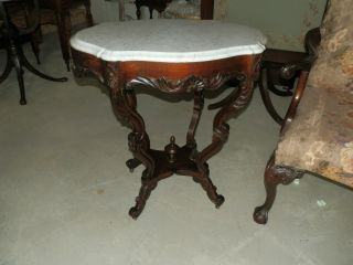 Fancy Antique Victorian Marble Turtle Top Parlour Table W/amazing Carved Base photo