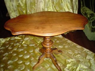 French Center Or Tea Table Solid Cherry 19th C Tilt Top photo