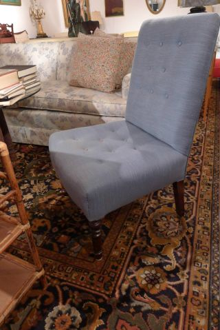 Antique French Style Boudoir Chair Linnen Blue Upholstery photo