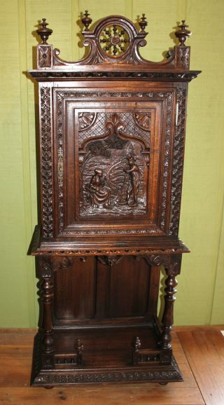 French Antique Heavily Carved Brittany Cabinet / Cupboard.  Made From Oak. photo