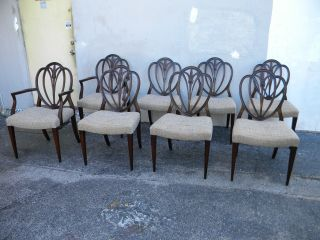 Set Of Eight Mahogany Carved Shield Back Dining Room Chairs 1747 photo
