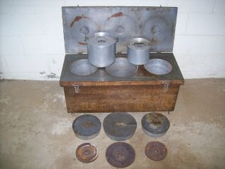 Unusual Antique Grain Painted Mess Kit Insulated Trunk W/ Hot Food Kettles photo