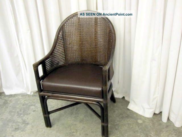 Antique walnut bent wood wicker back barrel style chair 1900 1950