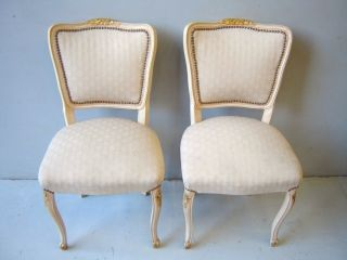 Pair Of Antique Louis Xv Patinated Chairs As/2272 photo