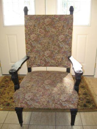 Antique Victorian Big Man Kings Arm Chair Metal Castors photo